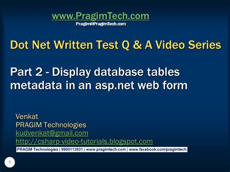 tutorial for web application in asp net sql server net and c video tutorial part 2 display