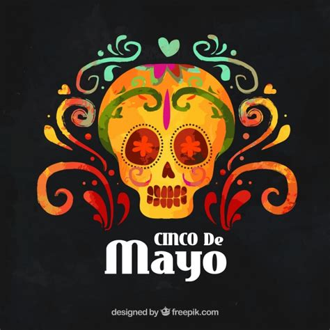 cinco de mayo background cinco de mayo background with mexican watercolor skull