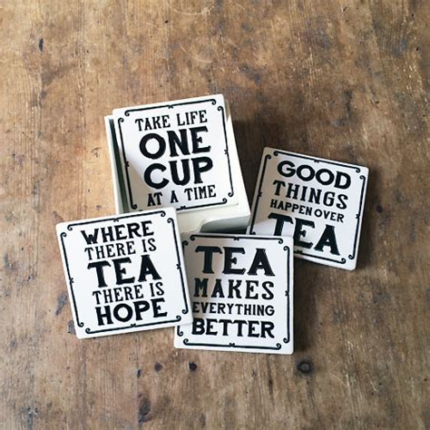 Vintage Tea Quotesasters In Wooden Holder