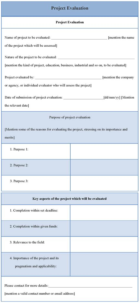 project evaluation form template evaluation template for project sle of project