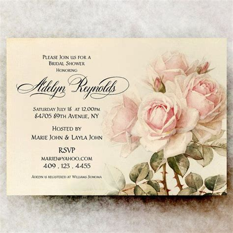vintage bridal shower invitation shabby chic bridal