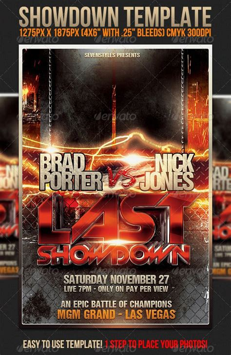 showdown flyer template explosions fonts and advertising