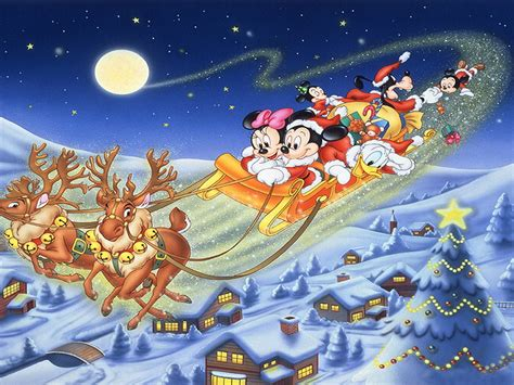 merry christmas mickey mouse  friends sledge deer gifts disney greeting card