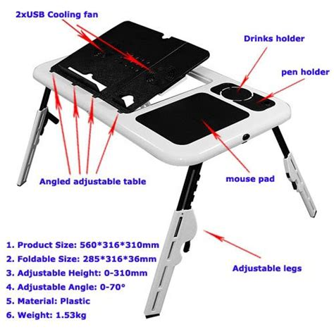 Cooling Pad Lipat Computer laptop notebook folding foldable usb portable e table
