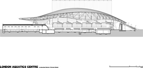 section structure london 2012 aquatics centre by zaha hadid drawings