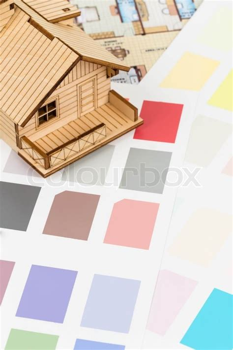 paint color sle catalog with drawing and house model stock photo colourbox