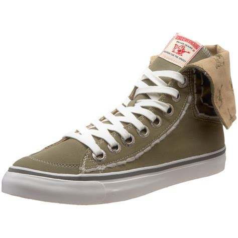 true religion mens hanabel t canvas hi top sneaker in