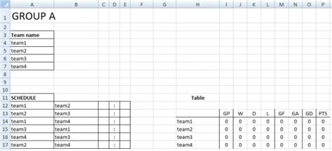 Tournament Spreadsheet Template by Sport Tournament Template