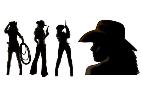 cowgirl silhouette vector free download two beautiful cowgirl silhouette vectors download free vector art