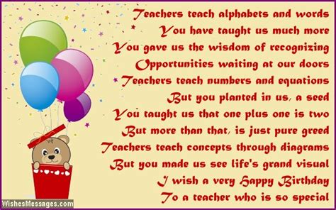 We Wish You A Happy Birthday Birthday Poems For Teacher Wishesmessages Com