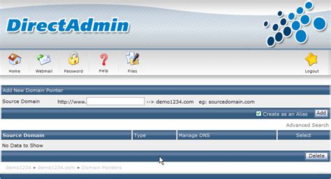 how to a pointer how to manage domain pointer in direct admin panel