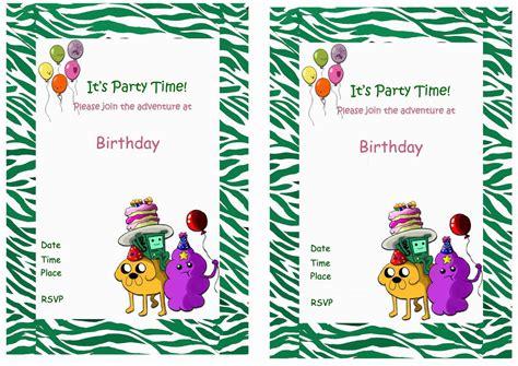 adventure time birthday card template printable adventure time invitations invitations ideas