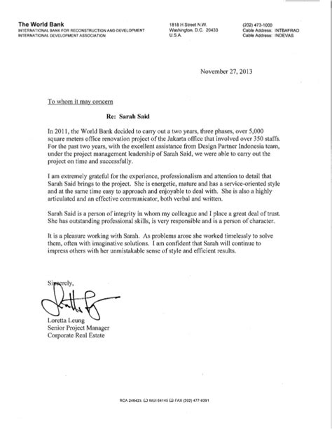 Bank Letter Of Recommendation World Bank Reference Letter