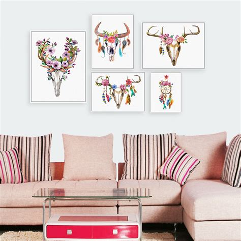azqsd nordic vintage large art print poster deer head modern watercolor deer head skull poster print a4 dream