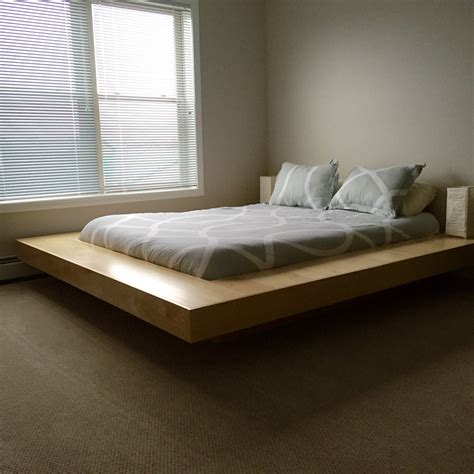 Maple Wood Floating Platform Bed Frame Diy Floating Floating Bed Frame