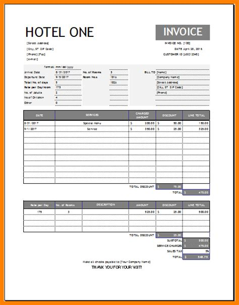 Hotel Receipt Template Word by 8 Hotel Bill Template Word Sle Travel Bill
