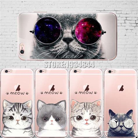 Ks Cheetah Iphone 6 6s 6plus 6splus 7 7plus cat with glasses pattern cover for iphone 6 6s 5 5s se 7 7plustransparent soft