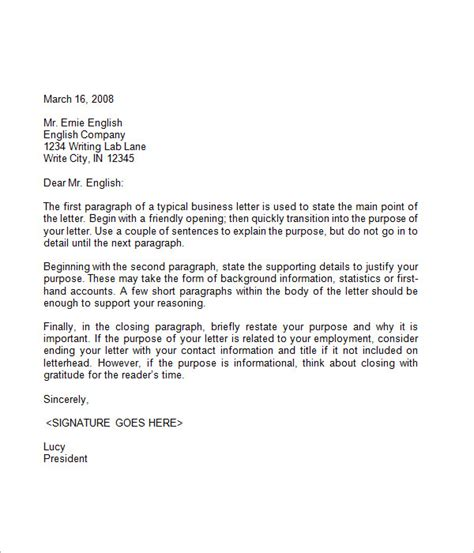 Business Letter Example free business letter sample