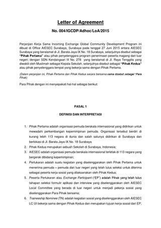 Letter Of Agreement Loa Letter Of Agreement By Herlin Surti Wahyuni Issuu