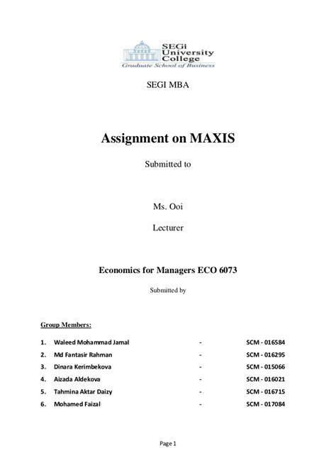 Assignment 1 Mba 5102 Changing Times Business In The 21st Century by Maxis Economonics Assignment