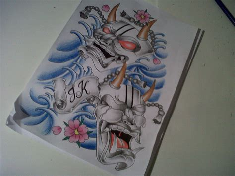 japanese hannyah mask tattoo design by tattoosuzette on