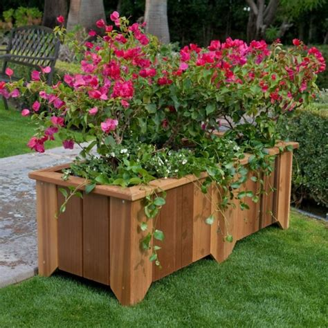 Wood Country Rectangle Cedar Wood Pocatello Planter Wooden Garden Decorations