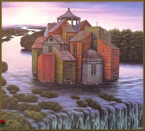 house paintings house over the waterfall jacek yerka wikiart org