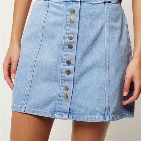 river island light denim button up a line skirt in blue lyst
