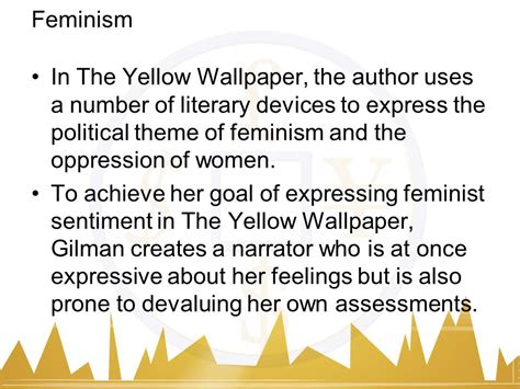 themes in feminist literature the yellow wallpaper by charlotte perkins gilman ppt