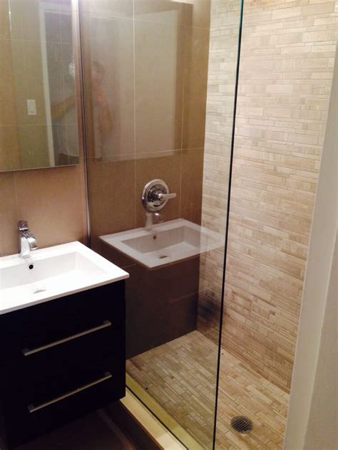 Half Glass Shower Doors Complete Bathroom Renovation Nemo Tile Half Glass Shower Door Modern Hotel Feel Bathroom