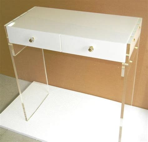White Lucite Personal Desk Or Vanity White Acrylic Desk