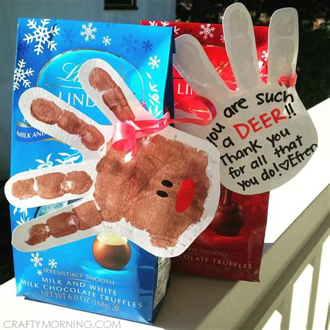 handprint reindeer thank you gift idea crafty morning