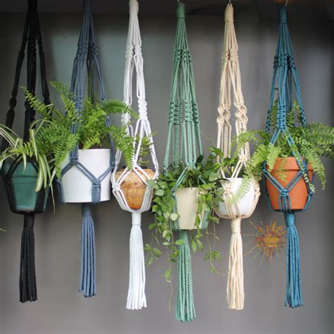 Macrame Plant Holders - macram 233 plant hangers in assorted neutral colours