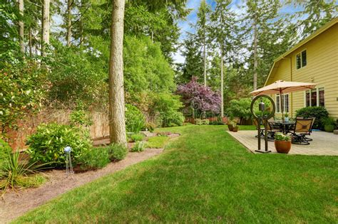 house with a big backyard big house with backyard patio and landscape stock image