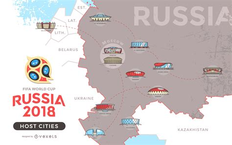 world cup 2018 host cities map russia 2018 host cities map vector