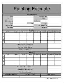 painters estimate template free wide numbered row painting estimate form from formville