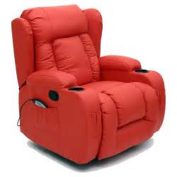 Heated Recliners by Caesar 10 In 1 Winged Leather Recliner Chair Rocking