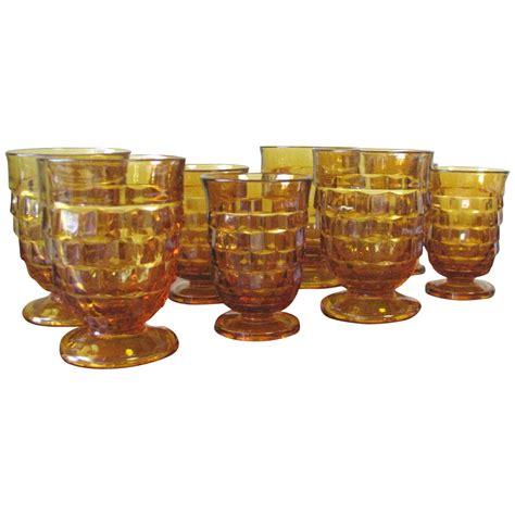 Shop Glassware Vintage Cubist Glassware By Indiana Glass Co Set