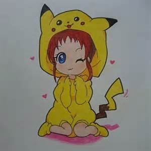 Coloriage girl fille pikachu chibi manga dessin cute adorable