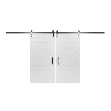 Bi Parting Barn Door Hardware Rustica Hardware Bi Parting 42 In X 84 In Rustica Reclaimed White Barn Doors With Rubbed