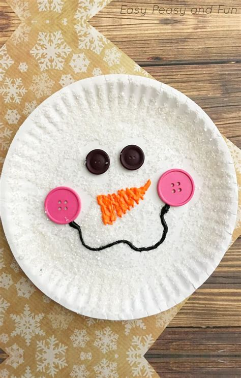 And Craft With Paper - paper plate snowman craft winter crafts for easy
