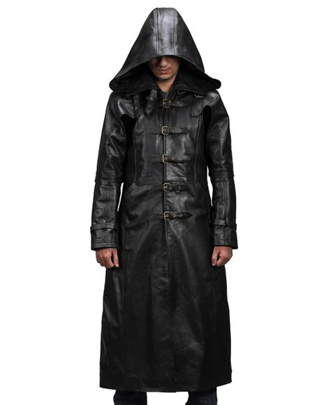 Hooded Coat hooded leather trench coat mens tradingbasis