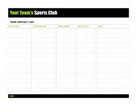 Roster List Template Team Contact List Template Microsoft Office Templates