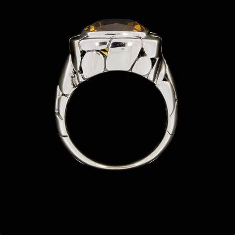 Batu Lemon Quartz Cutting E109 hardy citrine silver batu kali square pebble ring at