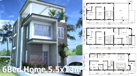 3 Story Home Plans by 3 Story Home Design Plan 5 5x13m With 6 Bedroom