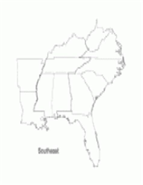 Southeastern United States Outline Map by Southeast Teachervision