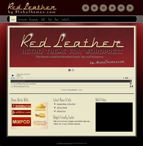 facebook themes red retro wordpress theme red leather