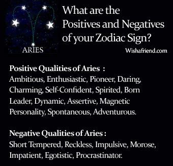 find positives and negatives of your zodiac sign aries