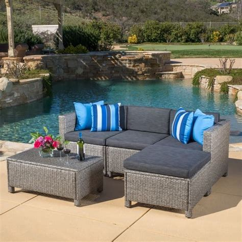 outdoor puerta 5 wicker l shaped sectional sofa set
