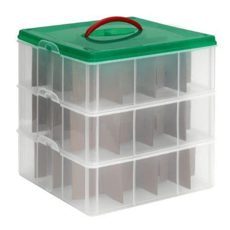 ornament storage container snapware snap n stack square layer seasonal ornament